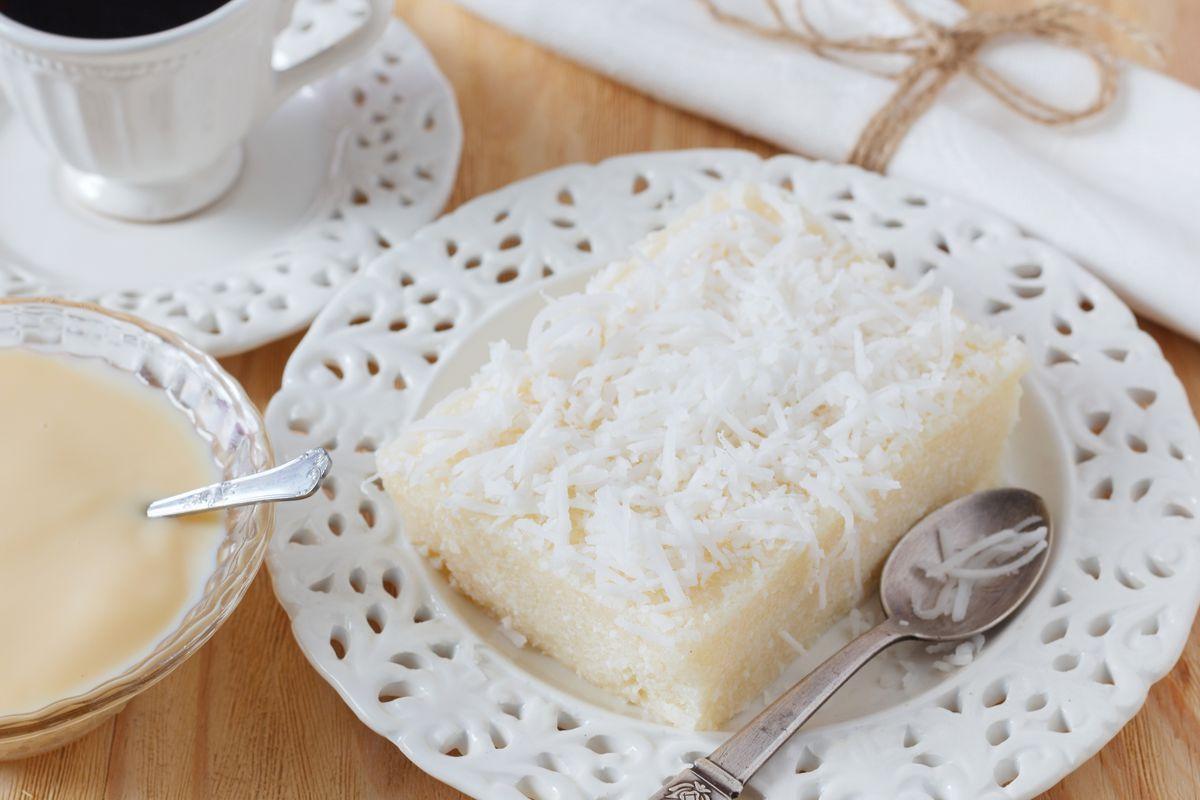 tarta de arroz con leche con coco